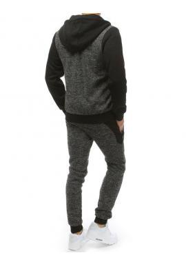 Pánska tepláková súprava s kapucňou v čiernej farbe