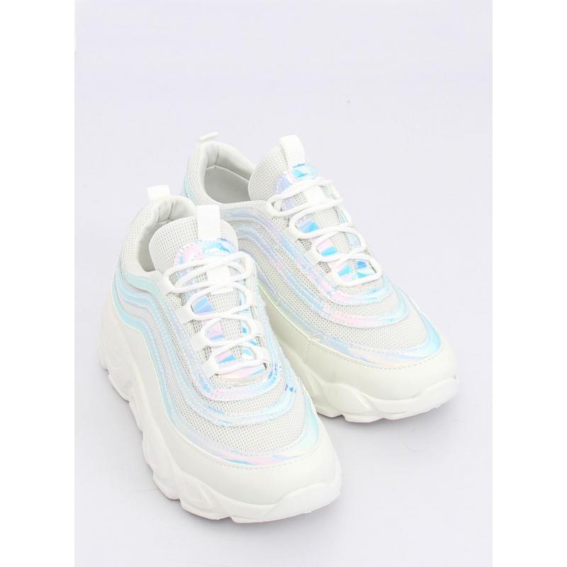 b22dfe4340d32 Dámske štýlové tenisky s holografickými prvkami v bielej farbe ...