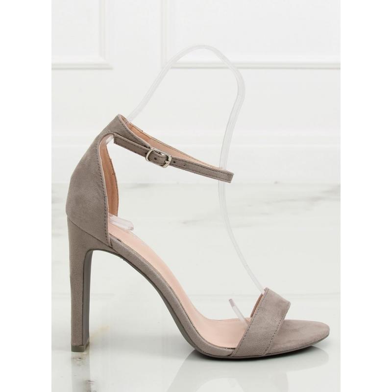 3d4707790 Semišové dámske sandále sivej farby na stabilnom podpätku ...