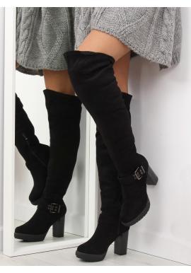 Dámske semišové čižmy nad kolená s vybíjaním v čiernej farbe