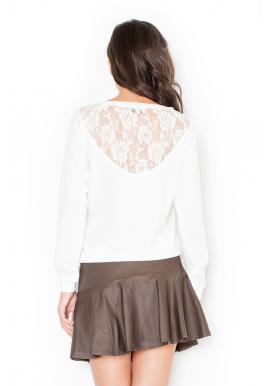 Čierny klasický sveter s čipkou na chrbte pre dámy