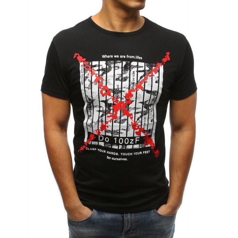 df9845efa7db Pánske štýlové tričko s potlačou v čiernej farbe. Sivé štýlové tričko s  potlačou pre pánov