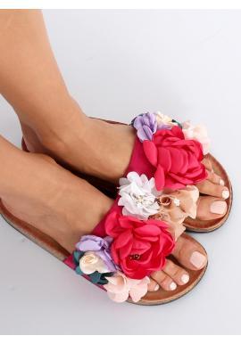 Čierne semišové šľapky s farebnými kvetmi pre dámy