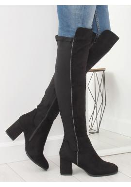 ee89e9c593 Dámske čižmy nad kolená na vysokej podrážke v čiernej farbe ...