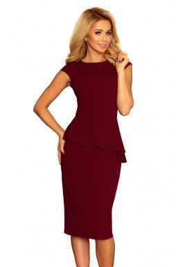 Elegantné dámske šaty tmavomodrej farby s asymetrickým volánom
