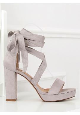 Čierne semišové sandále na podpätku s viazaním okolo nohy pre dámy