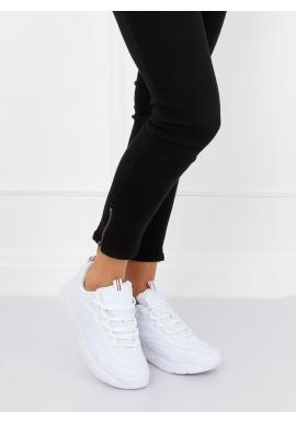 Dámske športové tenisky na vysokej podrážke v bielej farbe