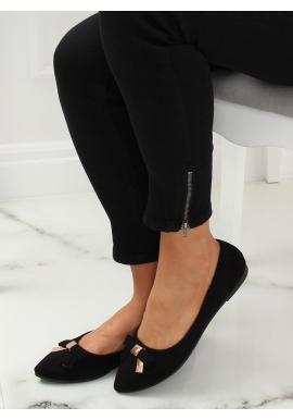 Čierne semišové balerínky s otvorenou pätou pre dámy