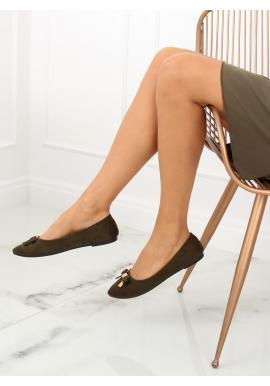 Čierne semišové balerínky s mašľou pre dámy