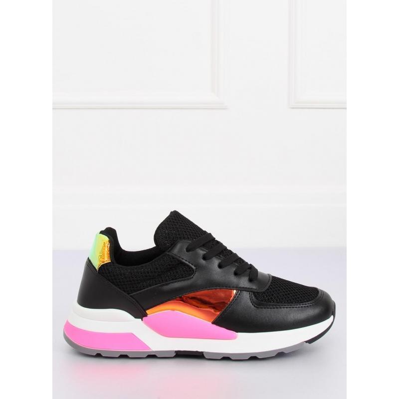 Športové dámske tenisky čiernej farby s holografickými vložkami ... a035426b92d