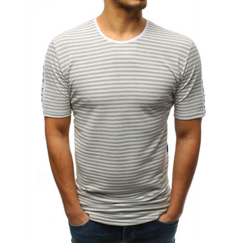 14e58c7be4b7 Sivo-biele pásikavé tričko s nápismi pre pánov - skvelamoda.sk