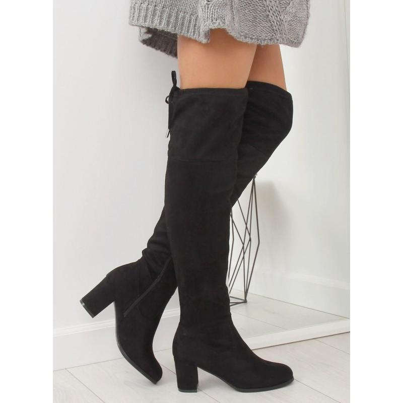 b17d5b7c3350 Dámske elegantné čižmy nad kolená na podpätku v čiernej farbe v ...