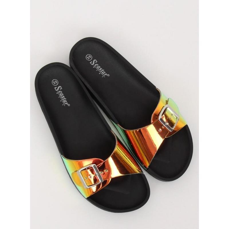 6f03a40049034 Čierne módne šľapky s holografickým pásom pre dámy - skvelamoda.sk