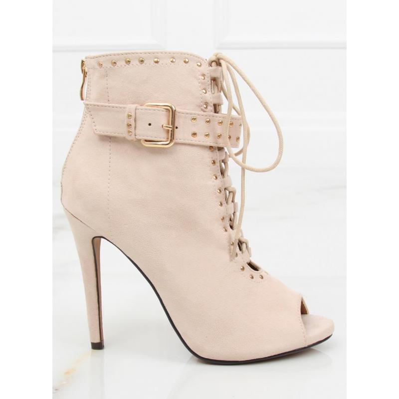 8b9b07361291 Dámske semišové topánky na podpätku s otvorenou špičkou v sivej farbe