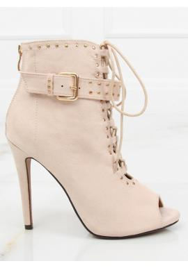 526801831c Dámske semišové topánky na podpätku s otvorenou špičkou v sivej farbe ...