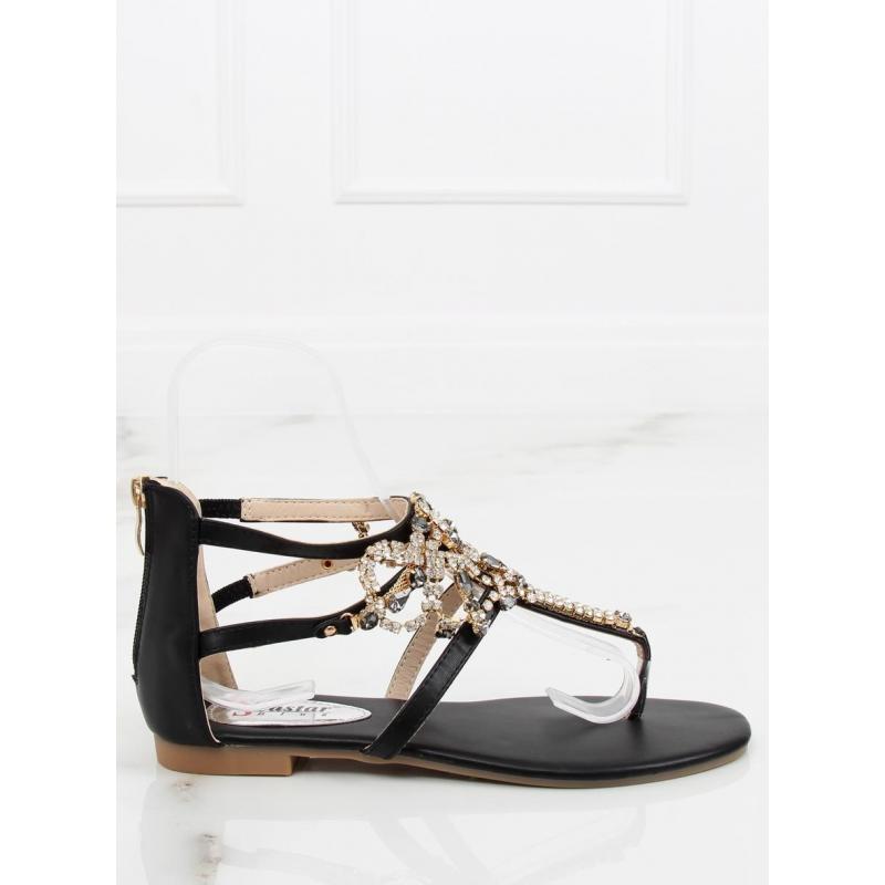 77917b5f6 Zdobené dámske sandále čiernej farby s kamienkami - skvelamoda.sk