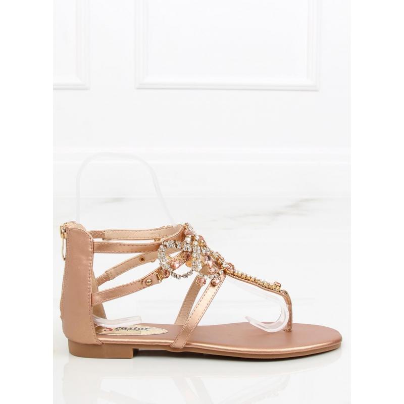 0bf24e243b59 Ružové zdobené sandále s kamienkami pre dámy - skvelamoda.sk
