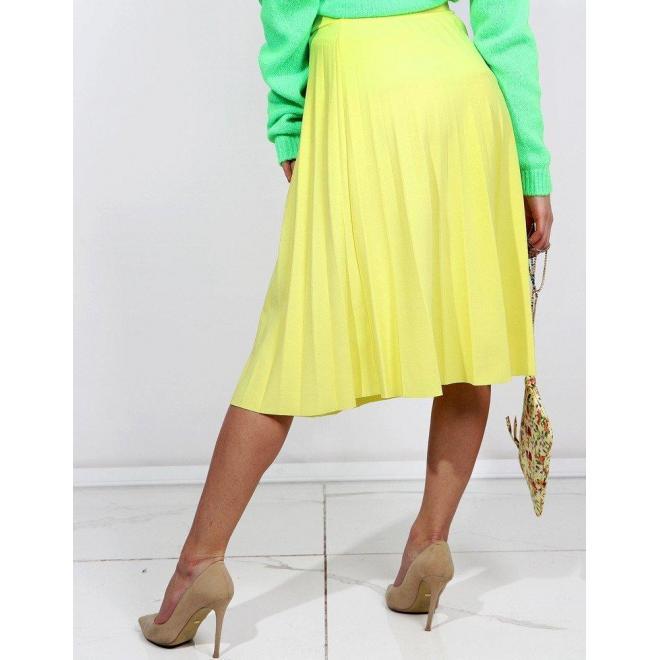 eb0a68a2be9f Žltá plisovaná sukňa pod kolená pre dámy - skvelamoda.sk