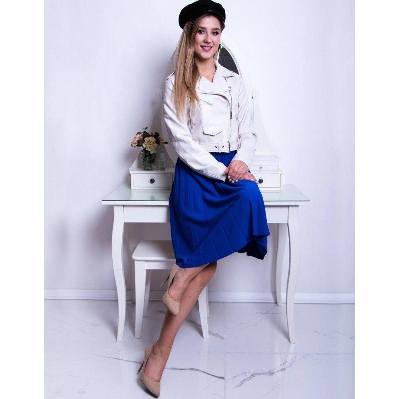 53329bc8e6ee Dámska plisovaná sukňa pod kolená v modrej farbe - skvelamoda.sk