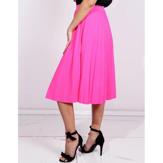 22c4629d87e6 Plisovaná dámska sukňa neónovo ružovej farby pod kolená - skvelamoda.sk