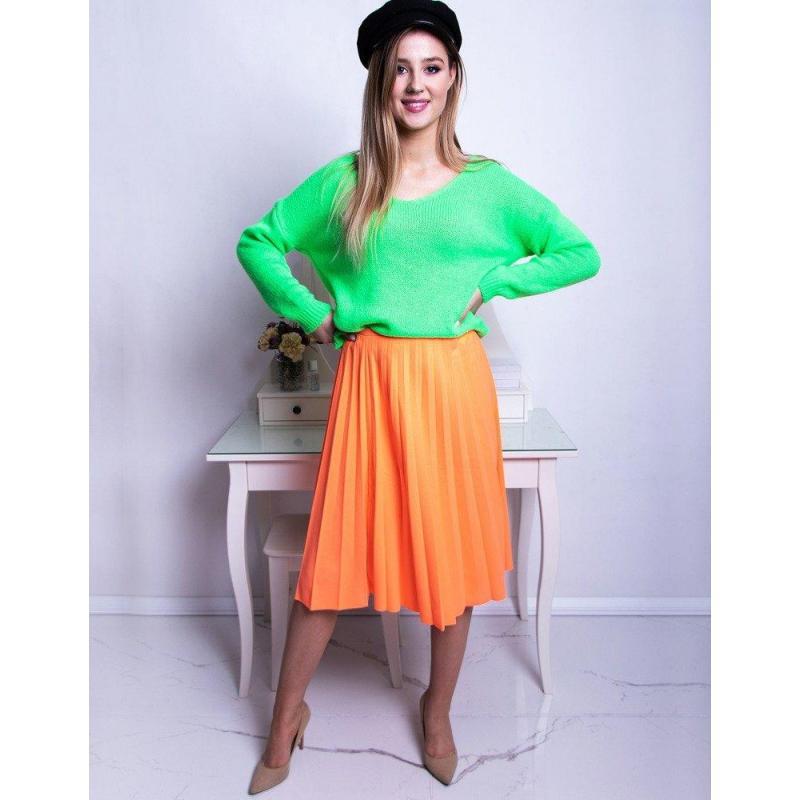 Dámske plisované sukne pod kolená v neónovo oranžovej farbe ... d014ae888b6
