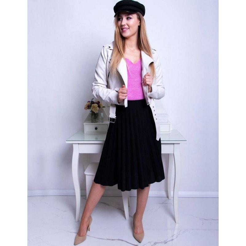 f96afd06e04e Čierna plisovaná sukňa pod kolená pre dámy - skvelamoda.sk