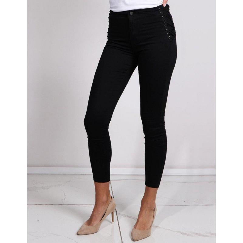 f35dbea14dd5 Dámske úzke nohavice s vysokým pásom v čiernej farbe - skvelamoda.sk