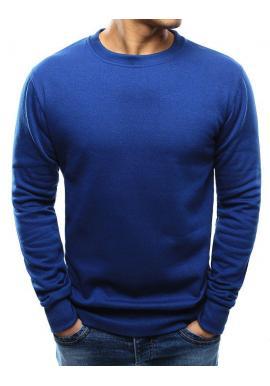 Klasická pánska mikina modrej farby bez kapucne