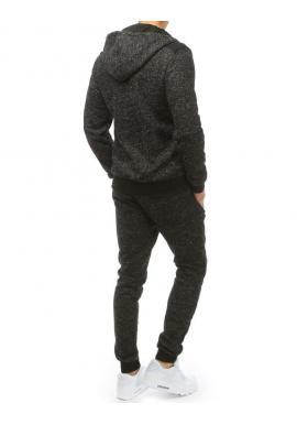 Pánska tepláková súprava s kapucňou v tmavosivej farbe