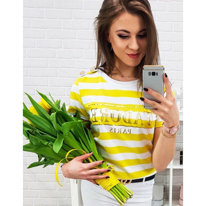 581b10907940 Dámske pásikavé tričko s potlačou v bielo-žltej farbe - skvelamoda.sk