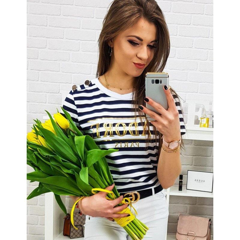 8eb544684df1 Modro-biele pásikavé tričko s potlačou pre dámy - skvelamoda.sk