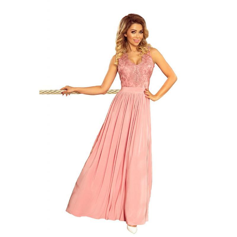 56f0a96c91cd Ružové dlhé šaty s vyšívaným výstrihom pre dámy - skvelamoda.sk