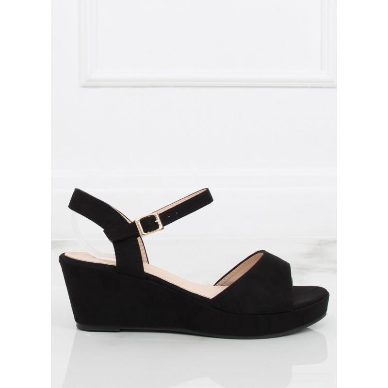 129242870c46 Dámske semišové sandále na opätku so zirkónmi v čiernej farbe. Loading  zoom. Predchádzajúci