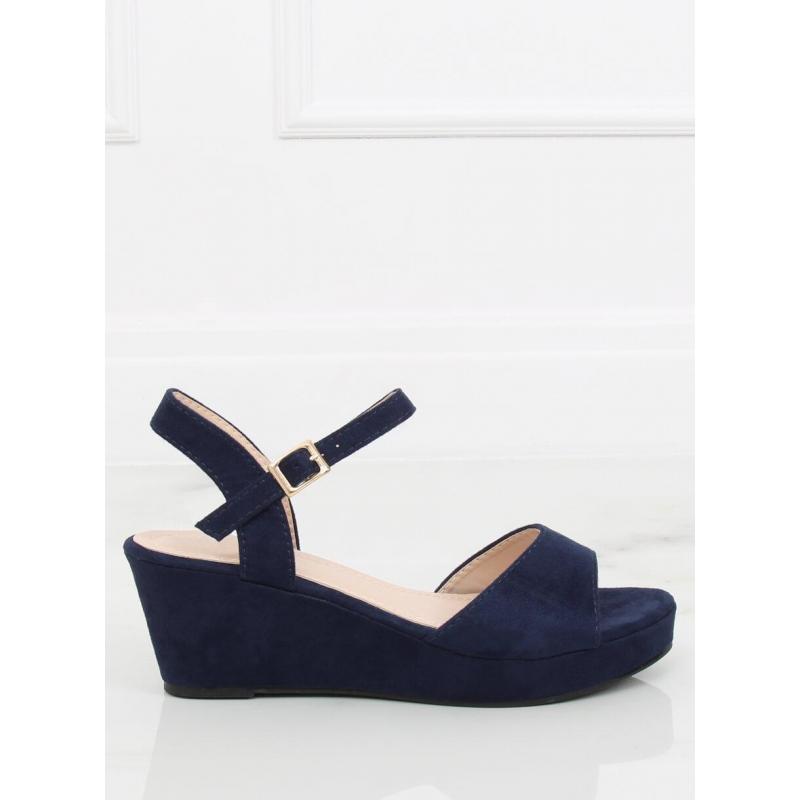 c75028c472 Semišové dámske sandále tmavomodrej farby na nízkej platforme ...