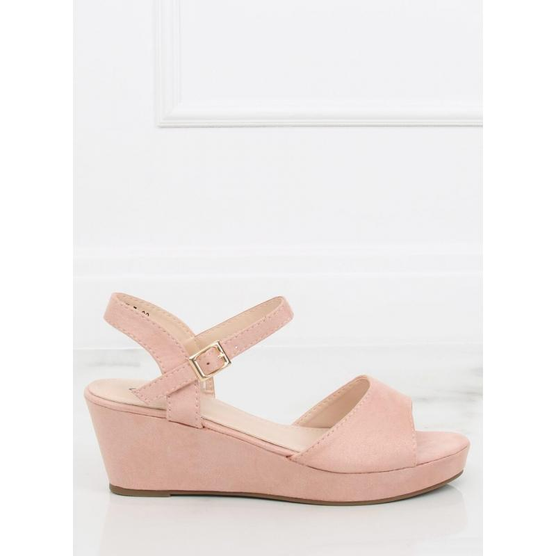 1f1cf93ad Ružové semišové sandále na nízkej platforme pre dámy - skvelamoda.sk