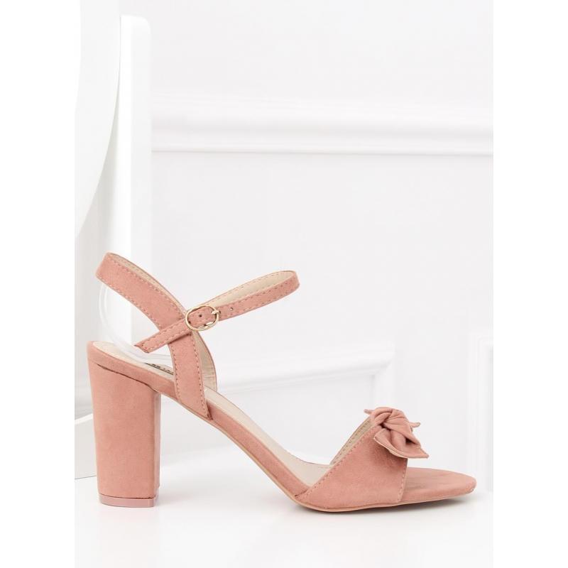 889023f1afe0 Semišové dámske sandále ružovej farby na podpätku s mašľou ...