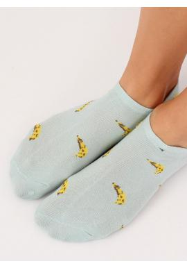 Dámske krátke ponožky s banánovým motívom v sivej farbe