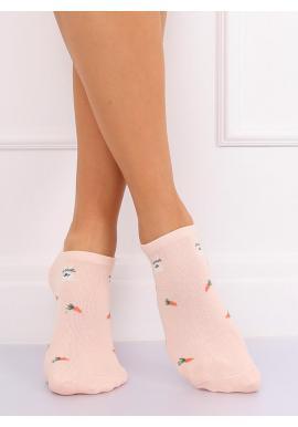 Krátke dámske ponožky sivej farby s mrkvovým motívom