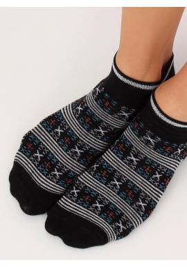 Krátke dámske ponožky sivej farby so vzorom