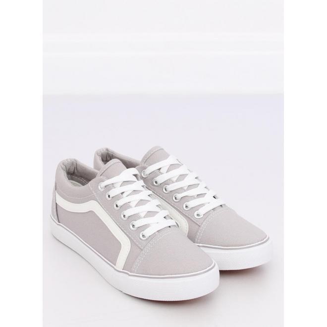 d5d3bb6002 Dámske módne tenisky s bielou podrážkou v sivej farbe - skvelamoda.sk