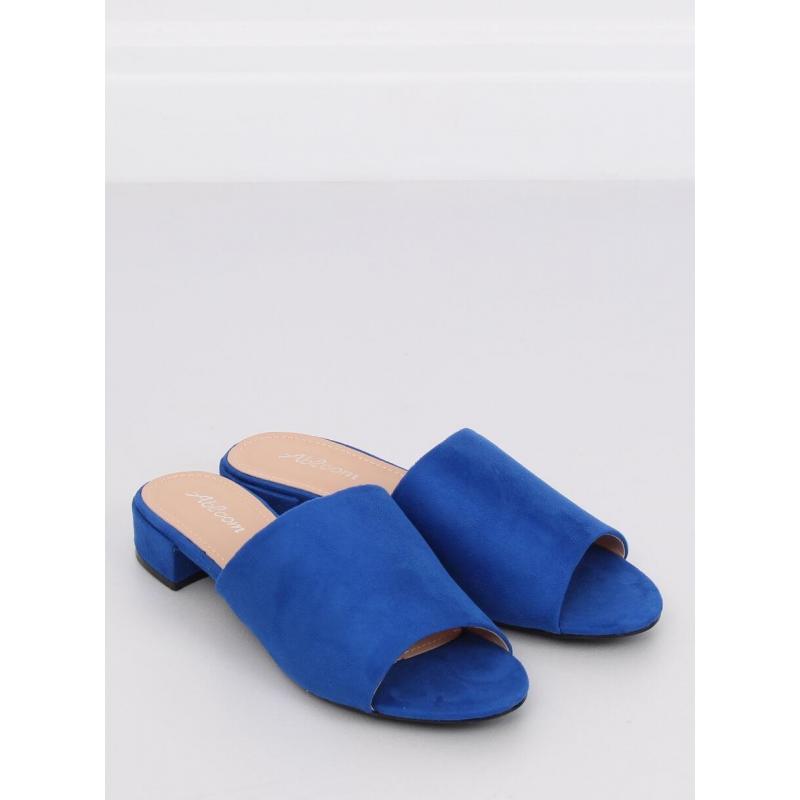 95296f382bac Semišové dámske šľapky modrej farby na nízkom opätku - skvelamoda.sk