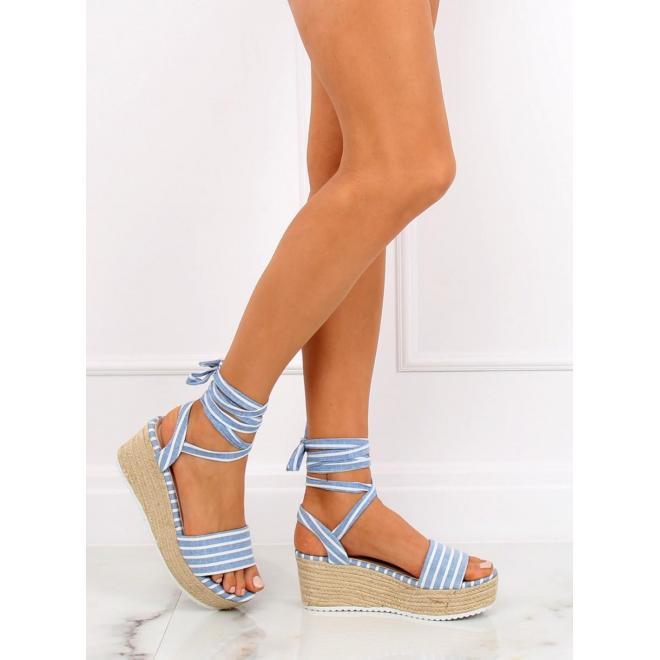 96de30dc5 Dámske pásikavé sandále na pletenej platforme v modro-bielej farbe ...