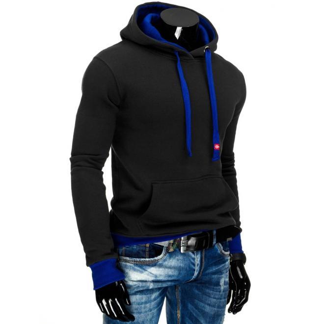 Mikina  pre pánov s klokaním vreckom v čiernej farbe a modrými prvkami