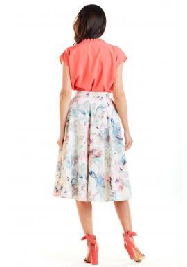 Biela rozšírená sukňa s kvetovanou potlačou pre dámy