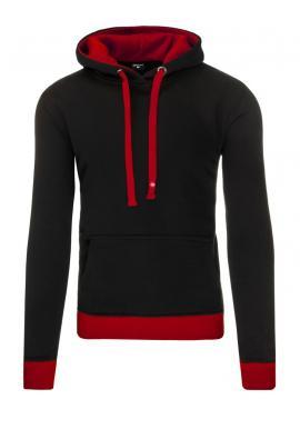 Mikina s klokaním vreckom s červenými prvkami v čiernej farbe