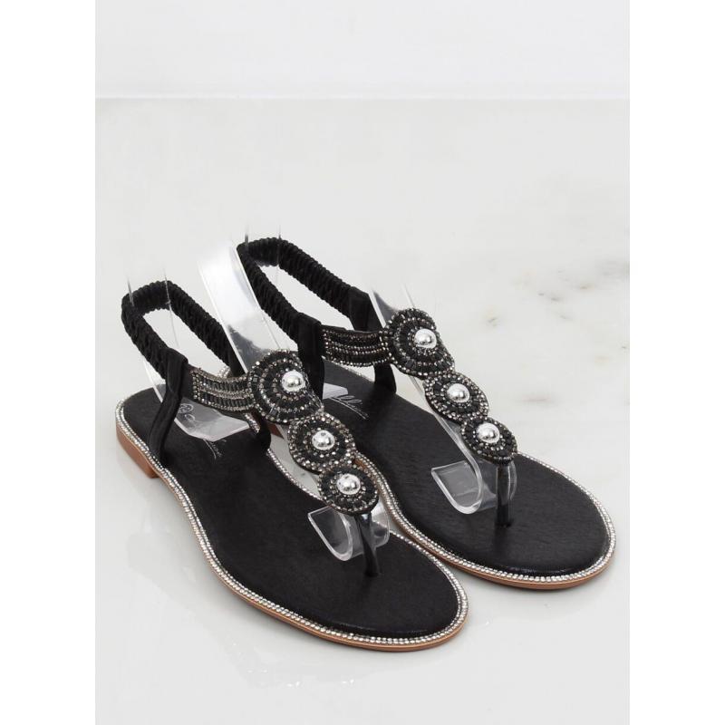 27d00fbb41b0 Čierne metalické sandále s kamienkami pre dámy - skvelamoda.sk