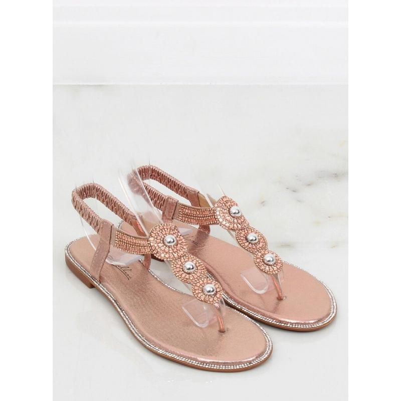 c9931cf4ec14 Dámske metalické sandále s kamienkami v ružovej farbe - skvelamoda.sk