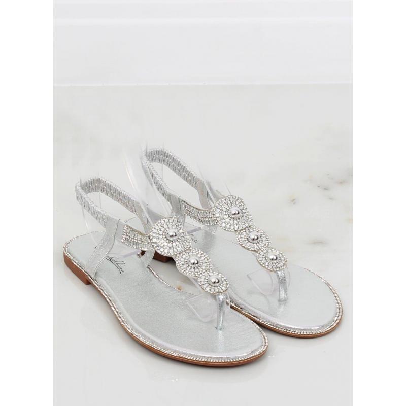 409282edb245 Metalické dámske sandále striebornej farby s kamienkami. Dámske metalické  sandále s kamienkami v ružovej farbe