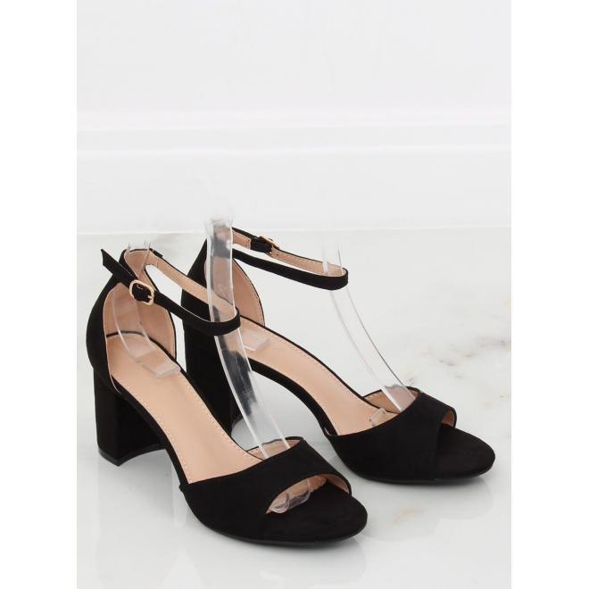 f0bfb361d Dámske semišové sandále na stabilnom opätku v čiernej farbe ...