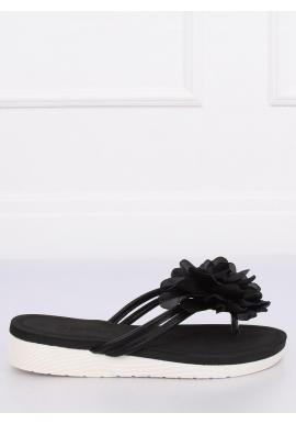 Čierne zdobené žabky na penovej podrážke pre dámy